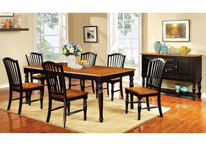 Mayville Black/Antique Oak Extension Dining Table w/6 Side Chairs