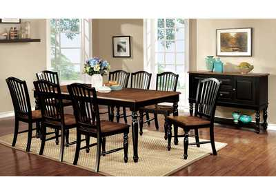 Mayville Black/Antique Oak Extension Dining Table w/8 Side Chairs