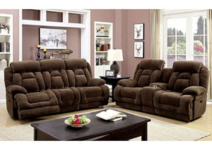 Grenville Brown Power-Assist Reclining Sofa and Loveseat