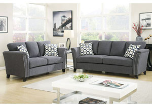 Campbell Gray Sofa and Loveseat w/Accent Pillows