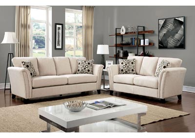 Campbell Ivory Sofa and Loveseat w/Accent Pillows