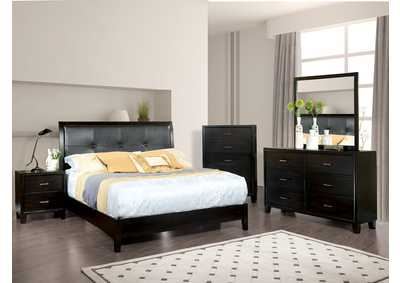 Enrico I Espresso Eastern King Platform Bed w/Dresser and Mirror