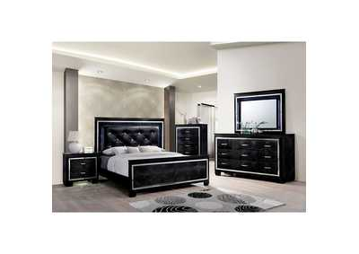 Bellanova Black Upholstered/Panel Queen Bed w/Dresser, Mirror, Drawer Chest, and Nightstand
