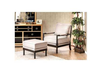 Sybil Beige Accent Chair and Ottoman