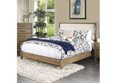 Enrico I Light Oak California King Upholstered Platform Bed