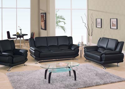 Black & Chrome Sofa, Loveseat & Chair