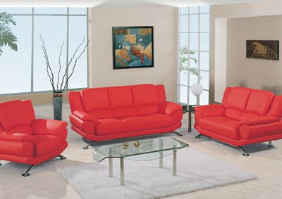 Red Leather Sofa & Loveseat
