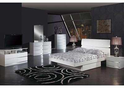 Aurora White Queen Bed, Dresser, Mirror & Chest
