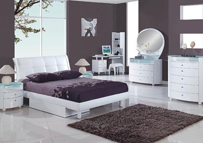 Evelyn White Full Bed, Youth Dresser & Youth Mirror