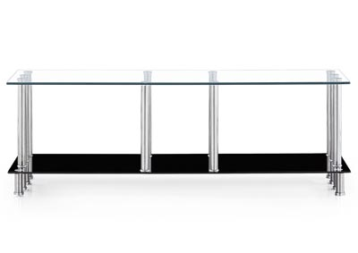 Glass Top TV Stand w/ Chrome Legs & Black Base