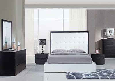 Metro White Queen Bed, Dresser & Mirror