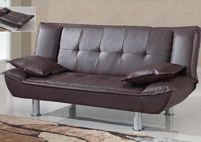Brown Faux Leather Sofabed