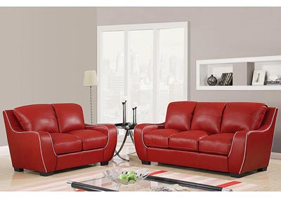 Red w/ White Welt Bonded Leather Sofa & Loveseat