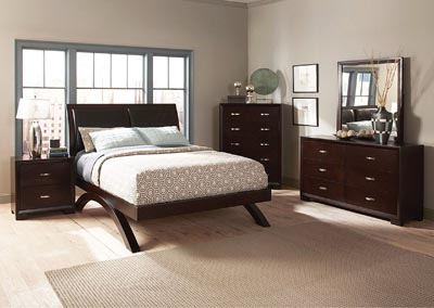 Queen Platform Bed w/ Dresser, Mirror, Drawer Chest and Nightstand
