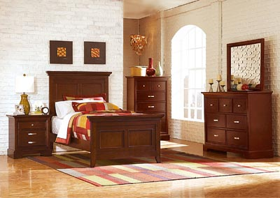 Glamour Espresso Twin Panel Bed w/ Dresser, Mirror, Drawer Chest and Nightstand