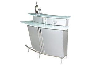 Broadway Bar Silver w/ Stainless Steel Footrest