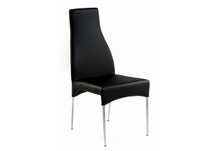 Crystal High Back Tapered Black Side Chair (Set of 2)